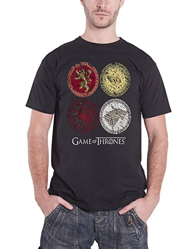 Game Of Thrones House Crests Official Mens New Black T Shirt