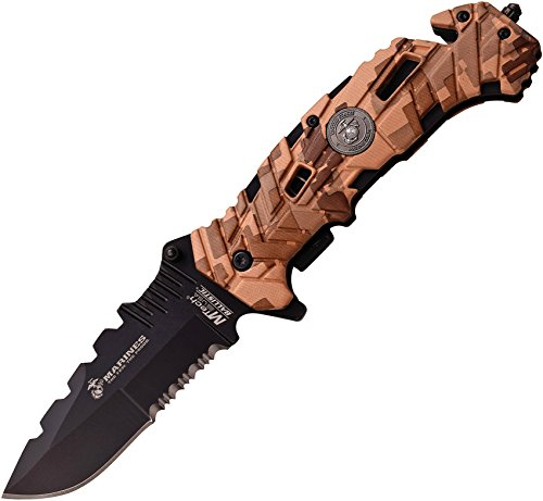 U.S. Marines by MTech USA M-A1049DM Spring Assist Folding Knife, Black Blade, Desert Camo Handle, 5-Inch Closed Review