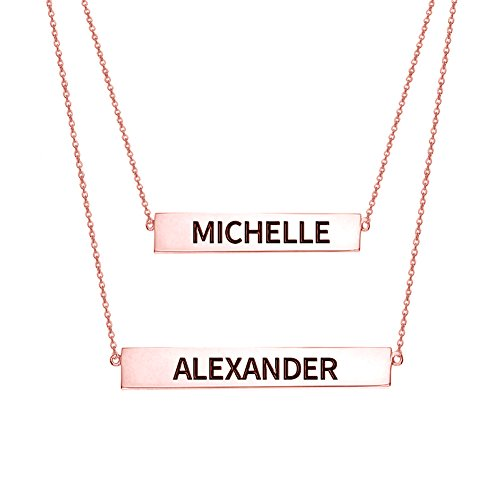 Ouslier 925 Sterling Silver Personalized Layered Nameplate Double Bar Necklace Custom Made with 2 Names (Rose Gold) (Custom Made Nameplate Necklace)