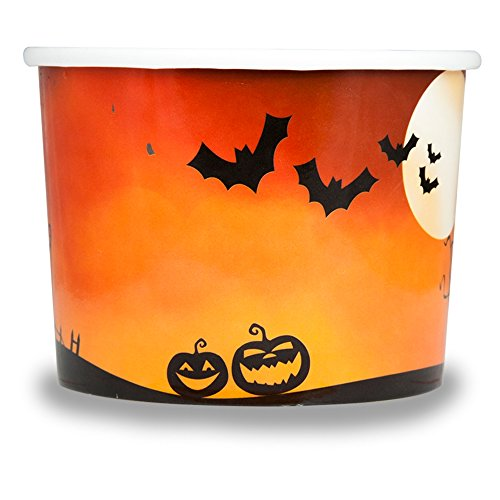 Halloween Themed Paper Dessert Cups - 12 oz Holiday Ice Cream Bowls - Orange Spooky Themed Paper Ice Cream Cups - Frozen Dessert Supplies - Fast Shipping! 50 Count by Frozen Dessert Supplies (Image #1)