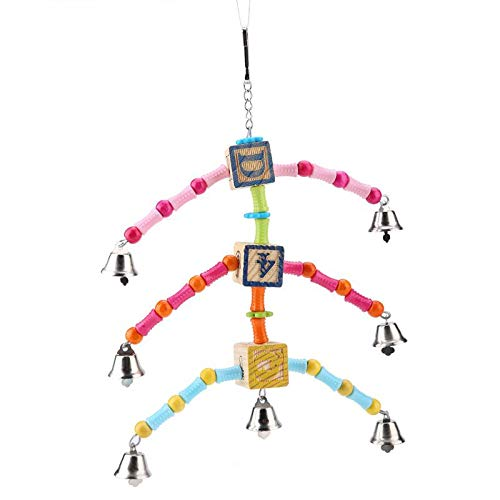 Bird Toys - Wooden Hanging Swing Toy With Small Bell Suitable Birds Pet Products - Rings Bridge Balls Budgie Conures Laces Disco Cage Metal Cockatiels Clearance Sale Japanese Gray Cockatie -