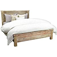 Kosas Home A54001284Z Harbor Bed, King, Hand-Distressed In Lime Wash