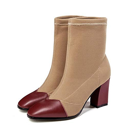 High Chic Women's Short Carolbar Toe Red Square Boots Heel n1IwOW7