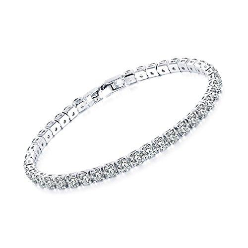TEMICO White Gold Plated Round Cubic Zirconia Tennis Bracelet Women Cz Crystal Wedding Bridal Jewelry Bridal 4 Piece