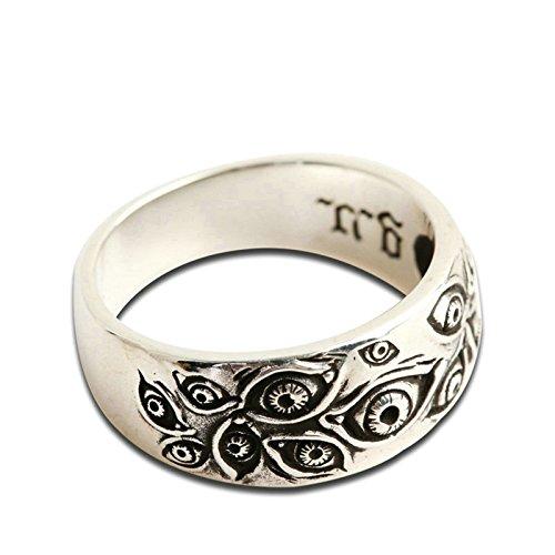 Adisaer Biker Rings Silver Ring for Men Eye Ring Size 7 Vintage Punk Jewelry