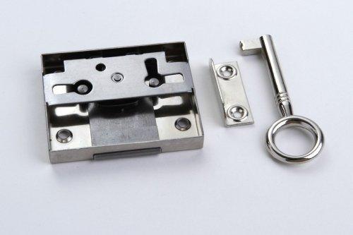 1 Schrankschloss Möbelschloss Aufschraubschloss Metall vernickelt 30mm mit Schlüssel