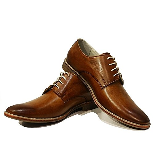 PeppeShoes Modello Malato - Handgemachtes Italienisch Leder Herren Braun Oxfords Abendschuhe Schnürhalbschuhe - Rindsleder Handgemalte Leder - Schnüren