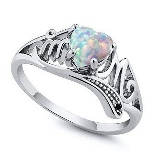 Waldenn 925 Silver Aquamarine Opal Women Man Jewelry Wedding Engagement Ring Size 6-10 | Model RNG - 13933 | 8