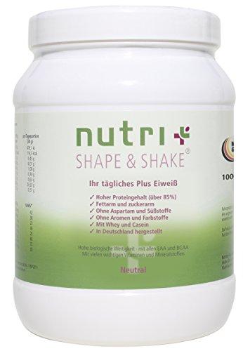 Nutri-Plus Shape & Shake Neutral 1kg - Proteinpulver ohne Aspartam, Aromen und Süßstoffe - Mit Whey & Casein