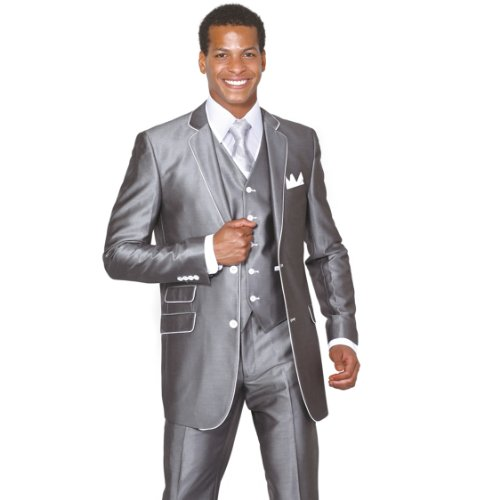 Milano Moda 2 Button Slim Fit Fashion Suit with White Hemming 5702V1 Gray-56L