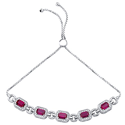 (Sterling Silver Created Ruby Adjustable Friendship Bracelet 3.75 Carats)