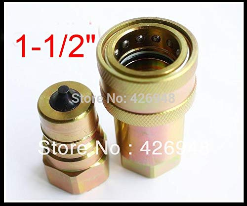 (Ochoos 1-1/2'' 1.5'' BSP Hydraulic Quick Coupler ISO7241A,3000PSI Close Quick Release Coupling,Compatible with Parker 6600 Faster ANV)