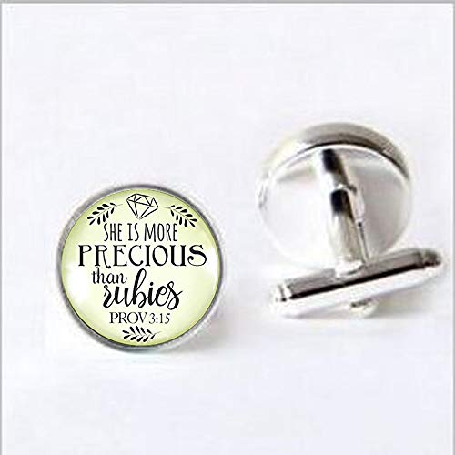 (She is More Precious Than Rubies Christian Womens Necklace Proverbs Vintage Style Jewelry Bronze Glass Round Pendant Cufflinks Cufflinks)
