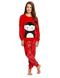 Girls 2 Piece Plush Penguin Pajama Set - Long Sleeve Fleece Top & PJ Pants - M