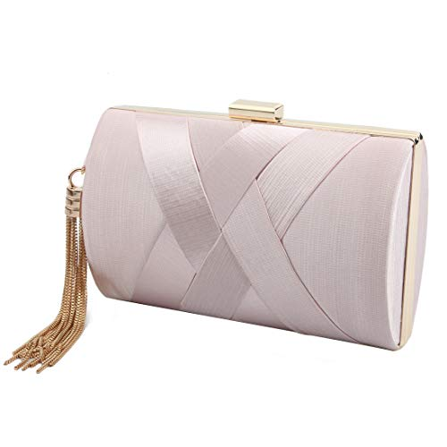 Women's Elegant Tassel Pendant Silk Evening Bag Clutch Purse for Bride Wedding Prom Night Out Party ()