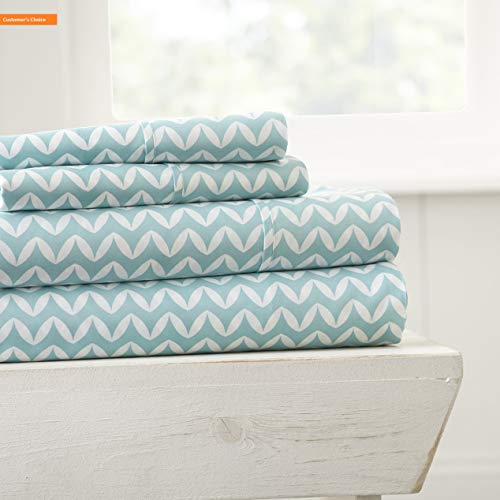 Mikash New Soft 4 Peice Sheet Set Puffed Chevron Patterned, Queen, Light Blue | Style ()