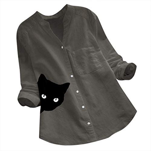 Cotton Linen Shirt,Womens Casual Pullovers V-Neck Printed Cat Long Sleeve Tunics Irregular Vintage Blouse Top Gray
