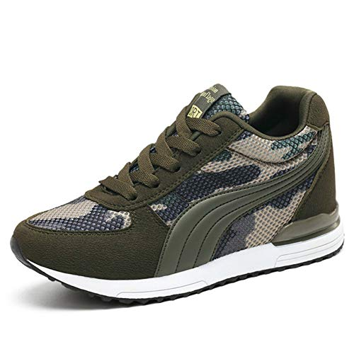 XXHC Women's Camouflage Mesh High-Heeled Sneakers Army Green Height Increase Shoes (9.5 M US, - Booty Army Womens
