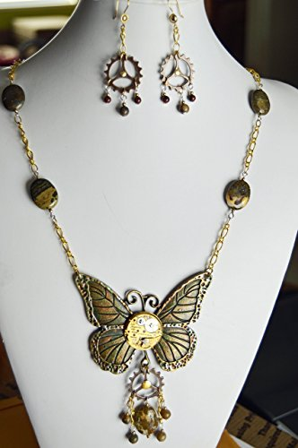 Large bronze Butterfly pendant necklace watch movement and Beautiful Jasper gemstones Gold chain and lobster claw clasp steam punk fashion found object art jewelry One of a kind unique handmade (Gem Movement)