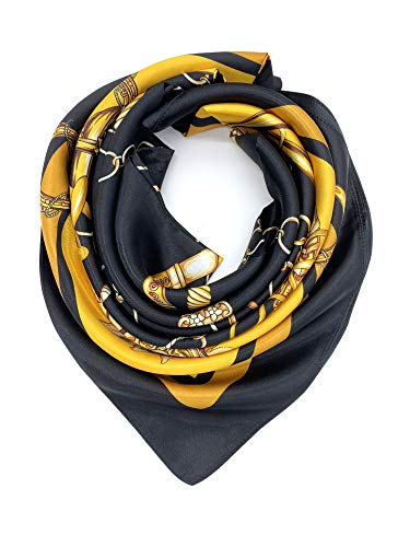 YOUR SMILE Silk Feeling Scarf Women's Fashion Pattern Black/Gold Chain Large Square Satin Headscarf (325) ()