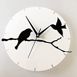 Happy Hours - 3D Acrylic Bird Quartz Wall Clock / Creative Branch Wall Stickers Hanging Watch / Living Room Dial Digital Home Decoration(White)
