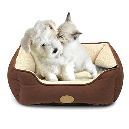 Fluffy Paws Pet Lounger Ped Bed Premium Bedding with Super Soft Padding and Anti-Skid Bottom for Dogs & Cats [Lightweight, Self-Warming], Brown - Small 22