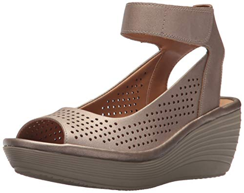 CLARKS Women's 889307086203 Wedge Sandal, Pewter Leather, 8.5 M US