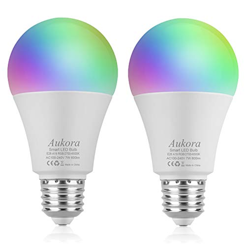 Smart WiFi Light Bulb, Aukora LED Light bulb Compatible with Amazon Alexa Google Home IFTTT (No Hub Required), E26/E27 60W Equivalent(7W), Color Changing Dimmable Multicolor Light Bulb, 2 Pack