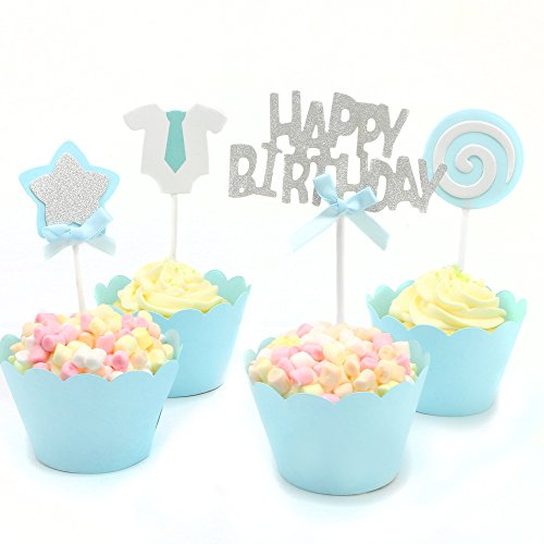 Luxcathy 24 Counts Pink Blue Birthday Celebration Cupcake Topper & Wrappers Suit - Boys Party Cake Decoration