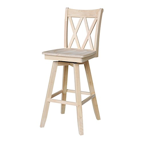(International Concepts Double X Back Barheight Stool with Swivel and Auto Return, 30