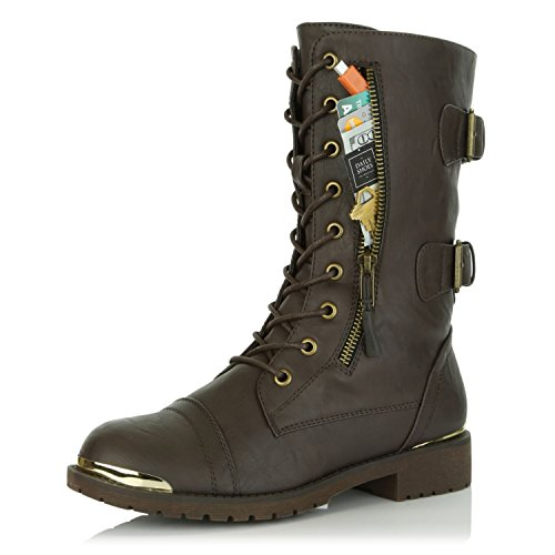 DailyShoes Women's Military Lace up Buckle Combat Boots Mid Knee High Exclusive Credit Card Pocket Metal Front Bootie Shoes, Brown PU, 8.5 B(M) (Lace Up Front Knee Boot)