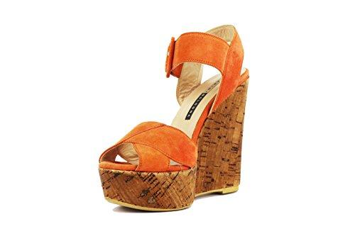 CHIARINI BOLOGNA Sandalias cuñas naranja gamuza AH565