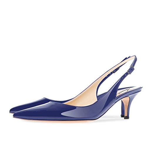 Kleid Party Slingback Heel 35 Formale Frauen Schuhe Amrantos zulaufenden Court Größe EU mit Kätzchen Spitz 46 0wU8ggqWF