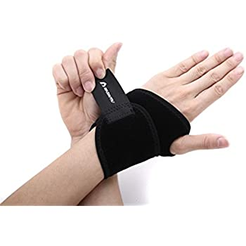 ApudArmis Wrist Brace Fitted Right / Left Thumb Stabilizer Wrist Wraps Compression Support - One Size Adjustable, Black