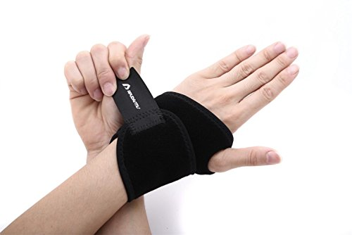 Wrist Thumb Support (ApudArmis Wrist Brace Fitted Right / Left Thumb Stabilizer Wrist Wraps Compression Support - One Size Adjustable, Black)