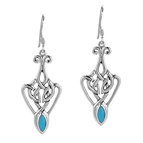 Alluring Celtic Lace Simulated Turquoise Embed .925 Sterling Silver Dangle Earrings