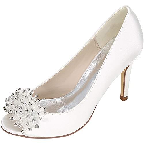 Femmes Peu Strass Unique Hauts Mesdames Taille Sandales 37 Dîner Confortable D'honneur Bouche Chaussures F Demoiselle Chaussures De Talons He yanjing Profonde Robe Grande Banquet f 8zqZff