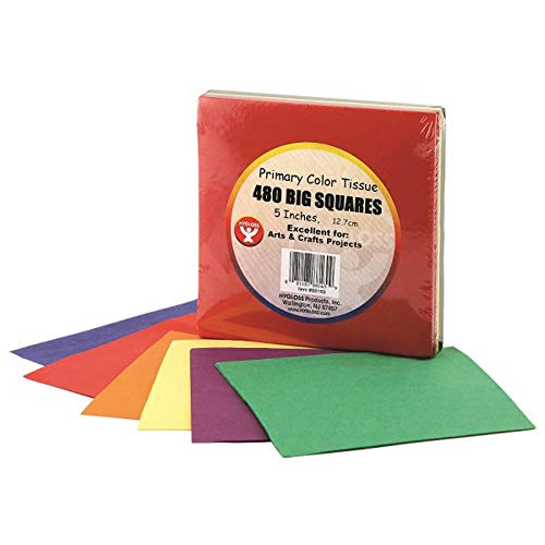 Hygloss Products HYG88169 Primary Colors Tissue Squares, 0.8