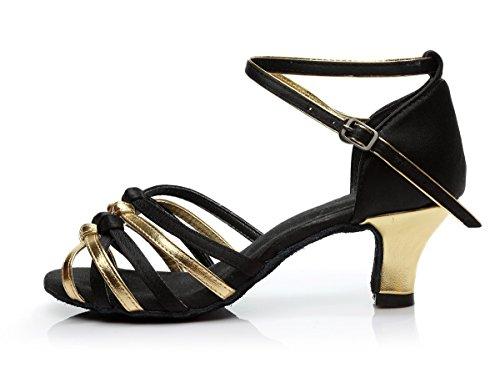 ShangYi Dance Shoes Latin Dance Shoes Female Adult Lady Latin Shoes Soft-soled High-heeled Women's Dance Shoes, with Height 5cm, Black Gold, EU35/UK3/CN34