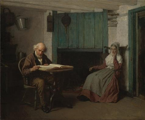 Perfect Effect Canvas ,the Best Price Art Decorative Prints On Canvas Of Oil Painting 'Eastman Johnson,Thy Word Is A Lamp Unto My Feet And A Light Unto My Path,ca.1878-1881', 20x24 Inch / 51x61 Cm Is Best For Basement Decoration And Home Decoration And Gifts