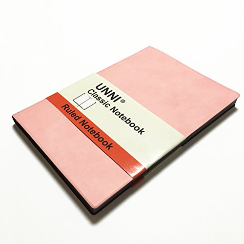 """Unni Classic Notebook Journal, Size:5.8"""" X 8.3"""", A5, Ruled, Pink, 192 Pages, Soft Cover/Fine PU Leather, Writing Notebook, Diary Journal, Banded journal, Bookmark, Hardbound"""
