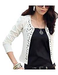ONTBYB Women Cotton Long Sleeve Short Blazer Suit Jacket