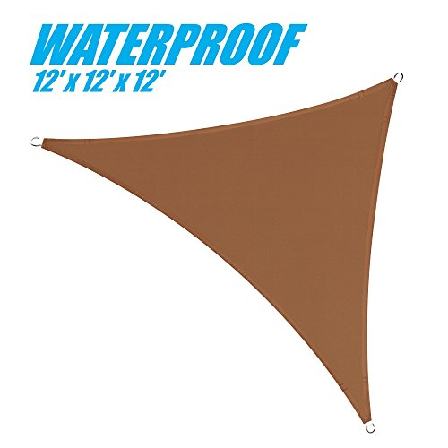 ColourTree 100 Blockage Waterproof 12 x 12 x 12 Brown Triangle Sun Shade Sail Canopy Triangle Coffee Brown – Commercial Standard Heavy Duty – 220 GSM – 3 Years Warranty