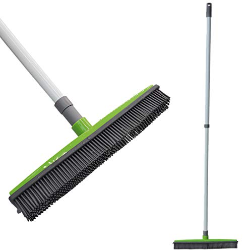 - FamilyDate 2.3 ft to 4.5 ft TPR Natural Telescoping Handle Pet Hair Remover Rubber Broom with Squeegee, Push Broom Carpet Broom, Pet Hair Removal-No Dead Angle Cleaning