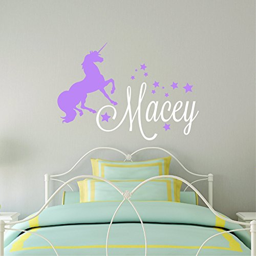 Custom Name Unicorn Wall Decal - Girls Personalized Name Unicorn Wall Sticker - Custom Name Sign - Custom Name Stencil Monogram - Girls Room Wall (Monogram Wall)