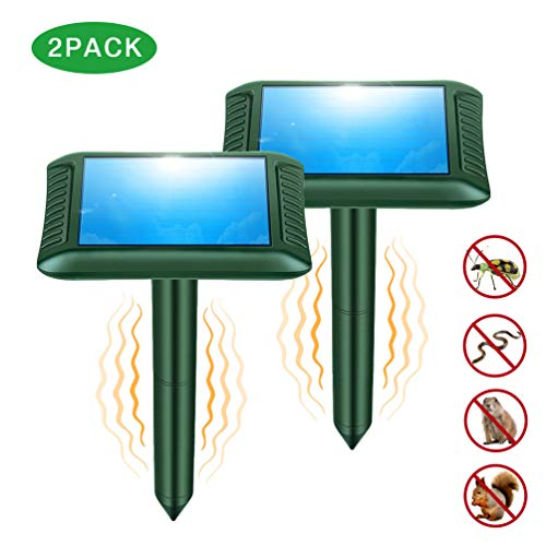 Snake Repellent, 2019 Newly Upgraded Ultrasonic Snake/Mole/Gophers Repeller Solar Powered for Outdoor Lawn Garden Yard - 2 Pack ()
