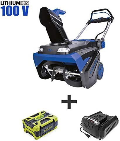 Snow Joe iON100V-21SB 100-Volt iONPRO Cordless Brushless Variable Speed Single Stage Snowblower Kit 21-Inch W 5.0-Ah Battery and Charger