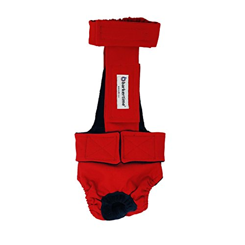 Barkertime Dog Diaper Overall - Made in USA - Cherry Red Escape-Proof Washable Dog Diaper Overall, XXL, Without Tail Hole for Dog Incontinence, Marking, Housetraining and Females in Heat by Barkertime