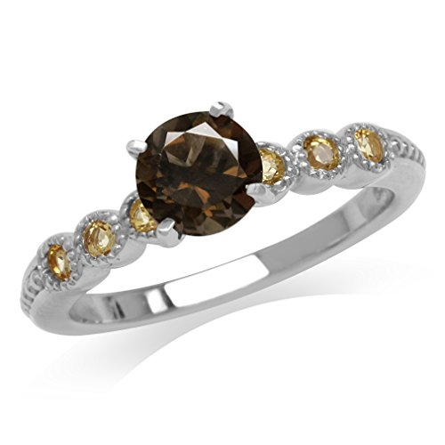 (1.36ct. Natural Smoky Quartz & Citrine White Gold Plated 925 Sterling Silver Engagement Ring Size 6)