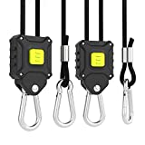 VIVOSUN 6-Pair 1/8 inch Rope Hanger w/Improved Design, More Convenience - Press Button Easy Adjust, Reinforced Metal Internal Gears, 8-ft Long & 150lbs Weight Capacity (Exclusively Patented)